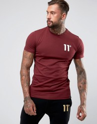 11 Degrees Muscle T-Shirt In Burgundy With Logo - Red