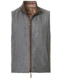 14 Savile Row Reversible Wool Gilet Grey/Tan men XL Grå