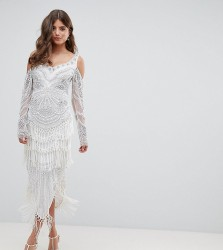 A Star Is Born Bridal Embellished Midaxi Dress with Tassel Hem - White