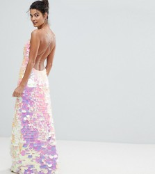 A Star Is Born Cami Strap Maxi Dress with Iridescent Overscale Sequins - Pink