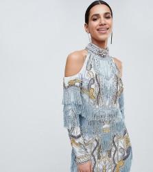 A Star Is Born Cold Shoulder Embellished Mini Dress with Tassel Details - Blue
