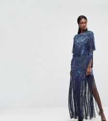 A Star Is Born Embellished Embroidered Maxi Dress With Tassle Detail - Blue