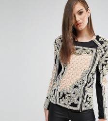 A Star Is Born Embellished Jacket With Quilted Detail - Multi