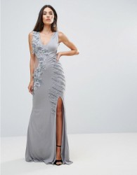 A Star Is Born Embellished Maxi Dress With Cut Out Sides - Silver