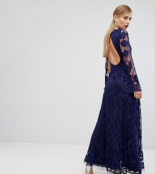 A Star Is Born Embellished Maxi Dress With Long Split Sleeve - Navy