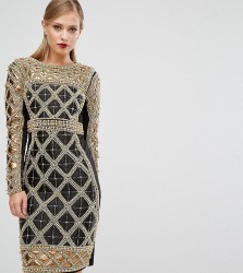 A Star Is Born Embellished Midi Dress With Metallic Quilted Detail - Black