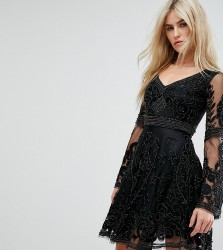 A Star Is Born Embellished Mini Skater Dress With Fluted Sleeve - Black