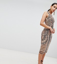 A Star Is Born Embellished Placement Midi Pencil Dress - Multi