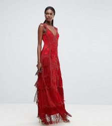 A Star Is Born Fringe Embellished Maxi Dress With Strap Detail - Red
