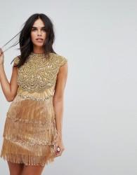 A Star Is Born Heaily Flower Embelished Tassle Mini Dress - Gold