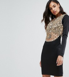 A Star is Born Heavy Embellished Knee Length Dress with Long Sleeves - Black