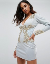 A Star Is Born Long Sleeve Heavily Embellished Dress With V Front - Blue