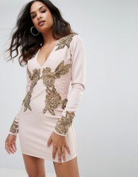 A Star Is Born Long Sleeve Heavily Embellished Dress With V Front - Pink