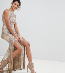 A Star Is Born Luxe All Over Jewel Embellished Maxi Dress With Beaded Tassel Hem - Pink