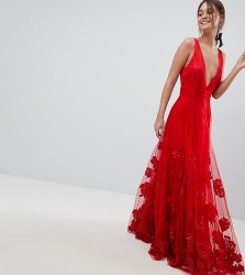 A Star Is Born Maxi Prom Dress with Embellishment and Embroidery - Red