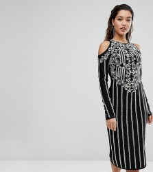 A Star Is Born Midi Dress In Jersey With Embellishment And Cold Shoulder Detail - Black