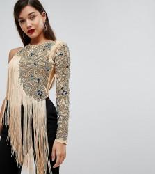 A Star Is Born One Shoulder Embellished Bodysuit with Fringe Detail - Gold