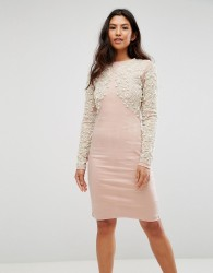 A Star Is Born Pearl Embellished Front Bodycon Dress - Pink