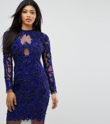 A Star Is Born Pencil Dress In All Over Embellishment - Navy