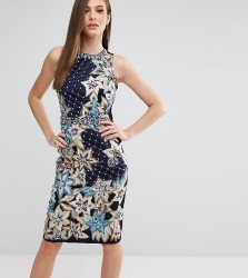 A Star Is Born Pencil Dress With Quilted Embroidery & Embellishment - Navy