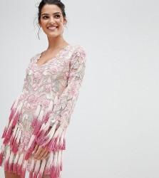 A Star is Born Scalloped V Neck Plunge Skater Dress with Allover Embellishment - Pink