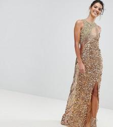 A Star Is Born Three Tone Maxi Dress with Fishtail - Gold