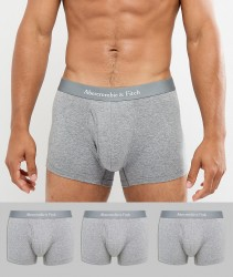Abercrombie & Fitch 3 Pack Trunks Logo Waistband in Grey - Grey