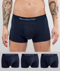 Abercrombie & Fitch 3 Pack Trunks Logo Waistband in Navy - Navy