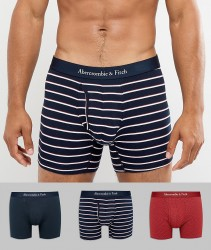 Abercrombie & Fitch 3 Pack Trunks Multi Pattern in Red Dots/Navy/Navy Stripe - Multi