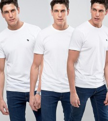 Abercrombie & Fitch 3Pack T-Shirt Crew Neck Muscle Slim Fit in White - White