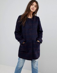 Abercrombie & Fitch Collarless Wool Coat - Navy