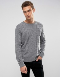 Abercrombie & Fitch Crew Neck Jumper Cable Knit in Dark Grey - Grey