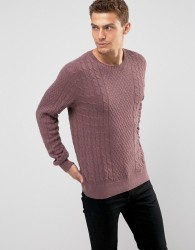 Abercrombie & Fitch Crew Neck Jumper Cable Knit in Red - Red