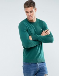 Abercrombie & Fitch Crew Neck Jumper Fine Gauge Icon Logo in Green - Green