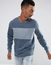 Abercrombie & Fitch Crew Neck Sweatshirt Chest Stripe in Navy - Navy
