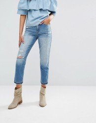Abercrombie & Fitch Cropped Girlfriend Jeans - Blue