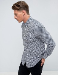 Abercrombie & Fitch Gingham Shirt Core Poplin Slim Fit in Navy/White - Navy
