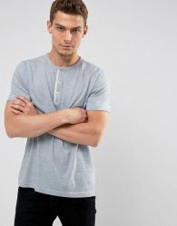 Abercrombie & Fitch Henley T-Shirt White Label Slim Fit in Blue Marl - Blue