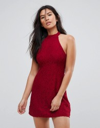 Abercrombie & Fitch Lace Halterneck Mini Dress - Red