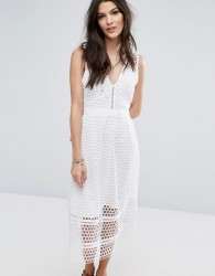 Abercrombie & Fitch Lace Zip-Back Midi Dress - White