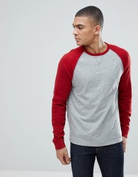 Abercrombie & Fitch Long Sleeve Baseball Top Contrast Sleeve in Grey/Red - Grey