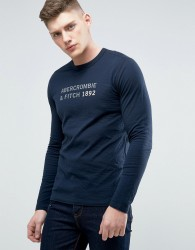 Abercrombie & Fitch Long Sleeve Top Muscle Slim Fit 1892 Print In Navy - Navy