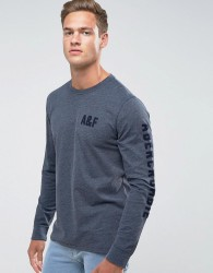 Abercrombie & Fitch Long Sleeve Top Slim Fit Legacy Print in Navy - Navy