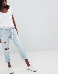 Abercrombie & Fitch Midrise Straight Leg Jean with Rips and Distressing - Blue