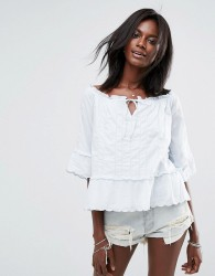 Abercrombie & Fitch Off The Shoulder Peasant Top With Cuff Detail - Blue