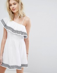 Abercrombie & Fitch One-Shouldered Ruffle Embroidered Dress - White