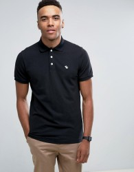 Abercrombie & Fitch Pique Polo Stretch Slim Fit Icon in Black - Black