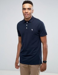 Abercrombie & Fitch Pique Polo Stretch Slim Fit Icon in Navy - Navy