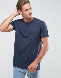 Abercrombie & Fitch Pocket T-Shirt Slim Fit Garment Dye in Navy - Navy