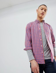 Abercrombie & Fitch Poplin Gingham Check Button Down Collar Shirt in Red - Red